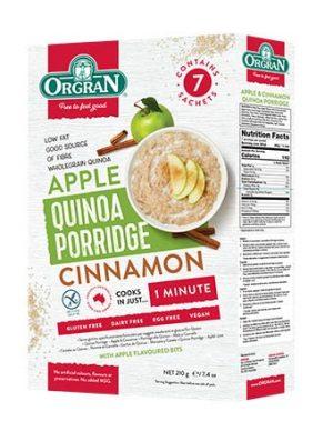 Orgran Quinoa Apple & Cinnmon Porridge 210g