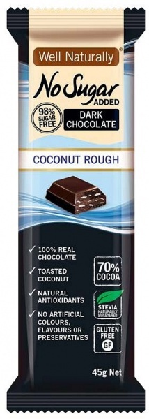 Well Naturally Dark Chocolate Coconut Rough 45g