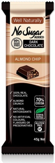 Well Naturally Chocolate Almond Chip 45g