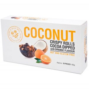 Herb & Spice Mill Coconut Crispy Rolls Cocoa & Orange Flavour 65g