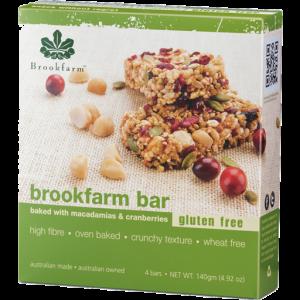 Brookfarm Bar with Macadamias & Cranberries (4) 140g