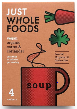 Just Whole Foods Carrot & Coriander Soup Sachets (4) 68g