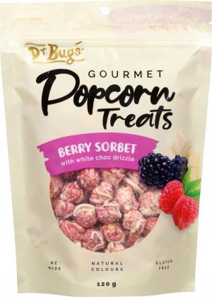 Dr Bugs Popcorn Treats Berry Sorbet White Choc 120g