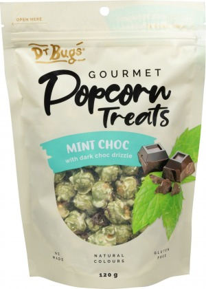 Dr Bugs Popcorn Treats Mint Dark Choc 120g