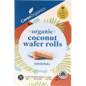 Ceres Organic Coconut Wafer Rolls 80g