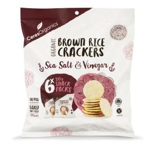 Ceres Organics Brown Rice Crackers Sea Salt & Vinegar Multi Pack (6) 120g