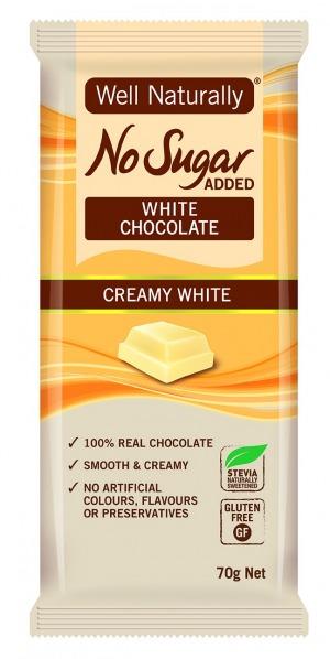 Well Naturally No Sugar Added Creamy White Chocolate 70g