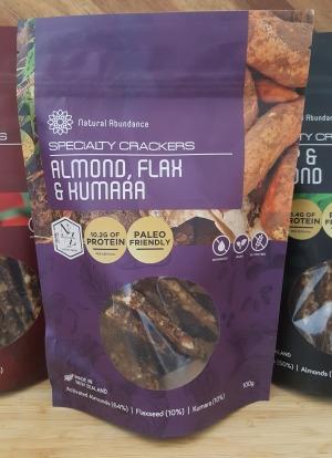 Natural Abundance Paleo Almond Flax & Kumara Crackers 100g