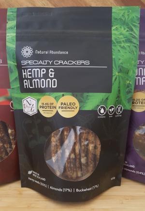 Natural Abundance Raw Hemp Almond & Flax Crackers 100g